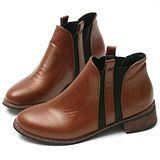 【Moscova】韓風流行復古造型橡筋木跟短筒靴-棕色