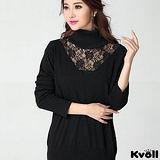 【KVOLL大尺碼】黑色翻領蕾絲網紗針織衫
