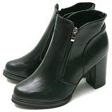 【Moscova】修飾小腿比例高質感拉鍊造型高跟足裸靴-黑色