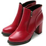 【Moscova】修飾小腿比例高質感拉鍊造型高跟足裸靴-紅色