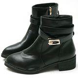 【Moscova】復古兩穿造型金屬扣帶短筒靴-黑色
