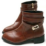 【Moscova】復古兩穿造型金屬扣帶短筒靴-棕色