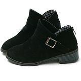 【Moscova】V型鞋口設計。金屬搭扣磨沙皮質後拉鍊裸靴-黑色