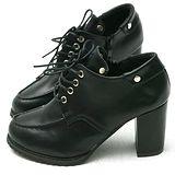【Moscova】時尚鉚釘繁帶後拉鍊粗高跟裸靴-黑色