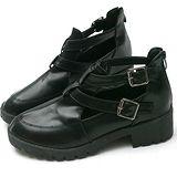 【Moscova】超軟皮質縷空金屬雙搭扣後拉鍊裸靴-黑色