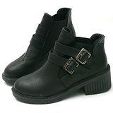 【Moscova】實搭金屬雙扣環設計百搭裸靴短靴-黑色