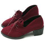 【Moscova】暢銷搽布料繁帶設計木根裸靴-紅色