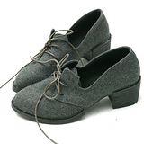 【Moscova】暢銷搽布料繁帶設計木根裸靴-灰色