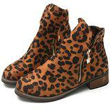 【Moscova】豹紋雙側拉鍊大木根兩穿短靴-豹紋色
