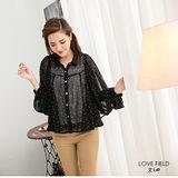 艾之田LOVE FIELD-公主泡泡袖點點層次上衣(黑)