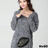 【KVOLL大尺碼】灰色圓領毛衣連身裙