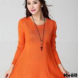 【KVOLL大尺碼】橘紅色蕾絲拼接不規則針織裙