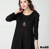 【KVOLL大尺碼】黑色蕾絲拼接不規則針織裙