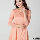 【KVOLL大尺碼】粉色蕾絲拼接不規則針織裙