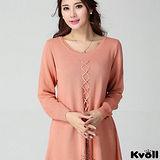 【KVOLL大尺碼】粉色交叉燙鑽針織連衣裙