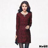 【KVOLL大尺碼】紅色典雅蕾絲修身連衣裙