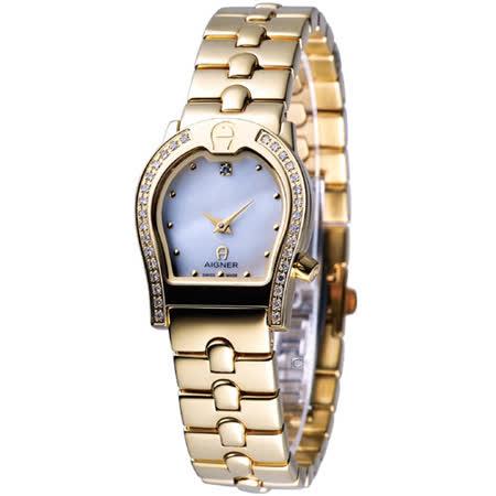 AIGNER 經典馬蹄型真鑽女用錶 A02221