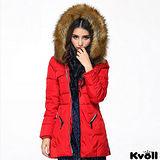 【KVOLL大尺碼】紅色仿絡子毛領羽絨長外套