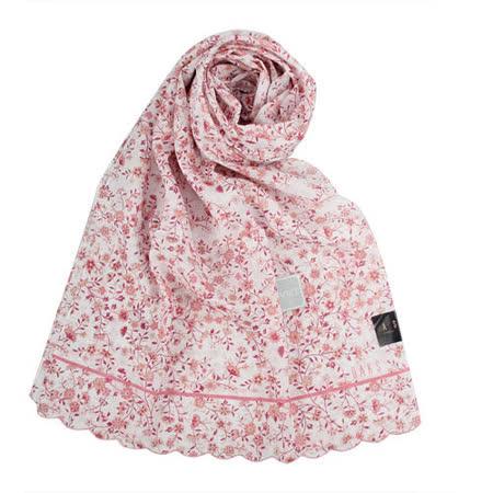 DAKS 新款浪漫花卉抗UV純棉薄圍巾-粉紅色