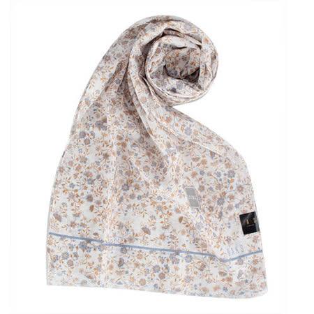 DAKS 新款浪漫花卉抗UV純棉薄圍巾-藍色