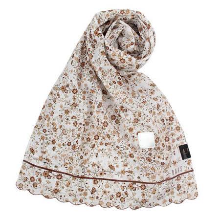 DAKS 新款浪漫花卉抗UV純棉薄圍巾-咖啡