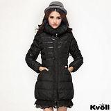 【KVOLL大尺碼】黑色拼皮蕾絲花邊羽絨長外套