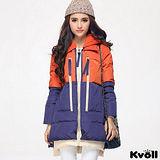 【KVOLL大尺碼】藍橘撞色連帽加厚羽絨外套