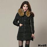 【KVOLL大尺碼】黑色連帽大毛領加厚羽絨中長外套