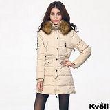 【KVOLL大尺碼】米白色連帽大毛領加厚羽絨中長外套