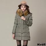 【KVOLL大尺碼】綠色連帽大毛領加厚羽絨中長外套