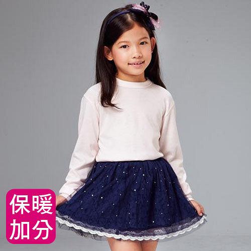~MORINO摩力諾~兒童發熱長袖圓領衫~粉紅色