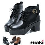 (現貨+預購)【Miaki】MIT 流行韓版厚底高筒踝靴短靴馬汀靴 (咖啡/棕色/黑色)