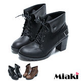 (現貨+預購)【Miaki】MIT 日韓人氣反折粗跟馬汀靴短靴踝靴 (可可/黑色)