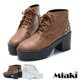(現貨+預購)【Miaki】MIT 日雜暢銷鉚釘厚底綁帶短靴踝靴休閒鞋 (棕色/白色)