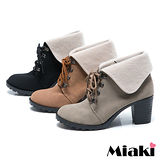 (現貨+預購)【Miaki】MIT 日韓熱賣反折綁帶粗跟踝靴短靴牛津靴 (可可/梨色/黑色)