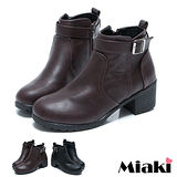 (現貨+預購)【Miaki】韓版熱賣圓頭粗跟踝靴短靴休閒鞋 (咖啡/黑色)