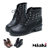 (現貨+預購)【Miaki】MIT 個性英倫鉚釘低跟踝靴短靴馬汀靴 (咖啡/黑色)