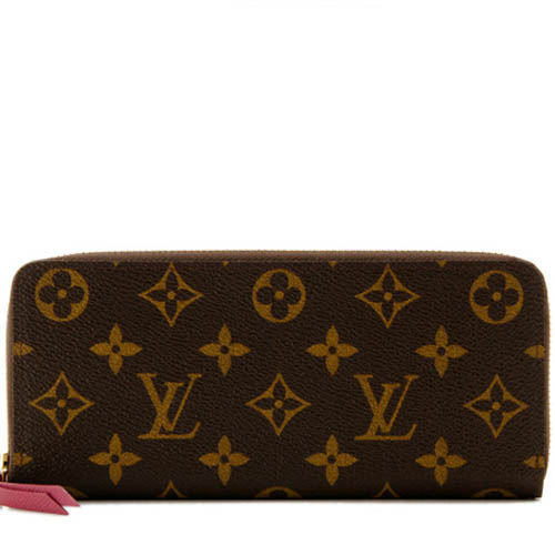 Louis Vuitton LV M60742 CLEMENCE 花紋拉鍊長夾.紫紅_