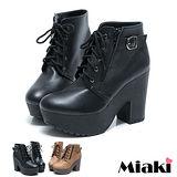(現貨+預購)【Miaki】MIT 韓版焦點拉鍊厚高跟踝靴短靴牛津靴 (棕色/黑色)
