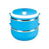 【Dr.AV】韓式炫彩雙層保溫飯盒(含提袋) LB-1400