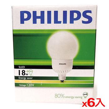 飛利浦 電子式球型省電燈泡-黃光(18W)*6入(箱)