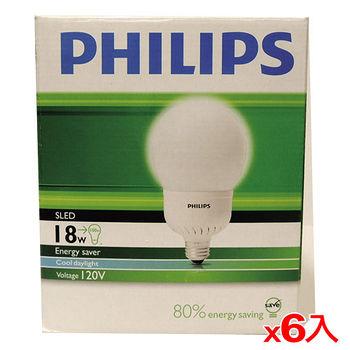 飛利浦 電子式球型省電燈泡-白光(18W)*6入(箱)