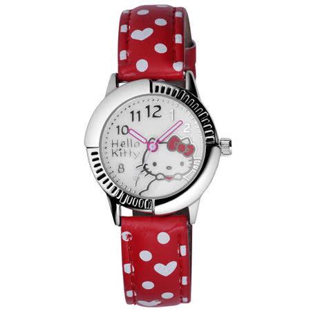 Hello Kitty 雲點朵朵俏麗腕錶-紅