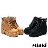 (現貨+預購)【Miaki】韓版時尚圓頭厚底短靴休閒鞋 (黃色/黑色)