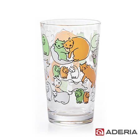 【ADERIA】日本進口Instyle貓咪玻璃杯225ml(橘綠)