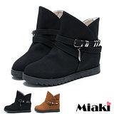 (現貨+預購)【Miaki】秋冬精選單扣圓頭厚底短靴休閒鞋 (棕色/黑色)