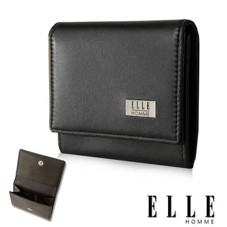 【ELLE HOMME】法式精品短夾嚴選義大利 柔軟頭層牛皮零錢包設計(黑EL81898-02)