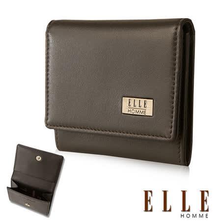 【ELLE HOMME】法式精品短夾嚴選義大利 柔軟頭層牛皮零錢包設計(咖啡EL81898-45)