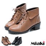 (現貨+預購)【Miaki】MIT 首爾直擊反折百搭粗跟短靴踝靴馬汀靴 (棕色/黑色)