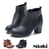 (現貨+預購)【Miaki】MIT 日韓雅痞時尚粗跟短靴踝靴牛津靴 (棕色/黑色)